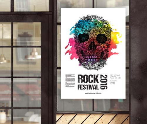 a2 size rock festival poster with a multicoloured skull