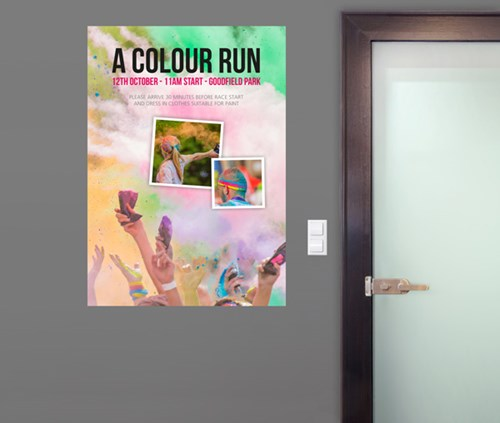 a0 size colour run event poster with pastel colours
