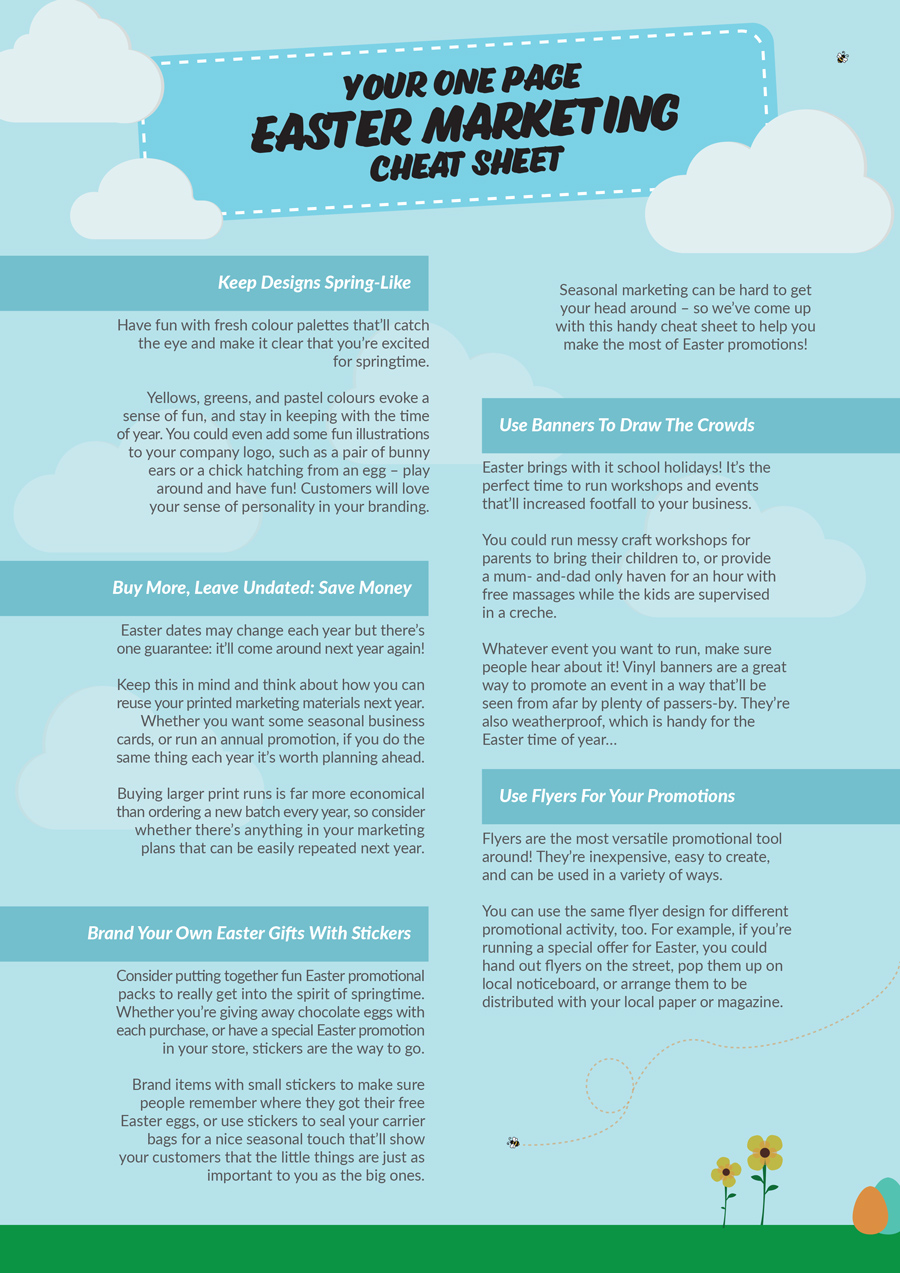 Your one page easter marketing cheat sheet weve come up with this handy cheat sheet to help you make the most of easter promotions take a look below or download your own version to keep here negle Images