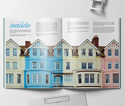 property booklet showing multicoloured seaside houses