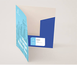 light blue interlocking presentation folders showing inside with a pocket