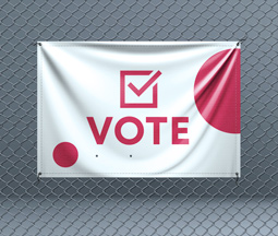 Large pink and white electoral vote banner