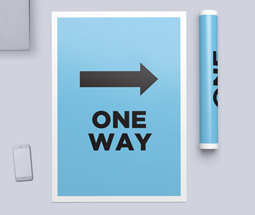 Blue one way system signs