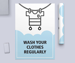 Wash your clothes regularly signs and posters