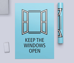 Keep windows open signs and poster design templates