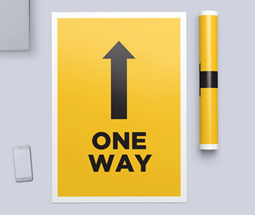Yellow one way system signs