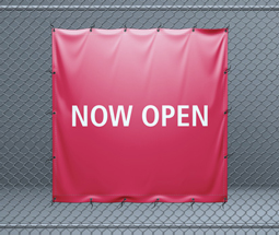 Pink now open banner