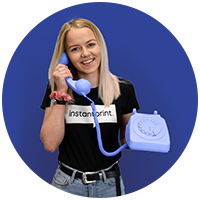 Girl holding a blue phone