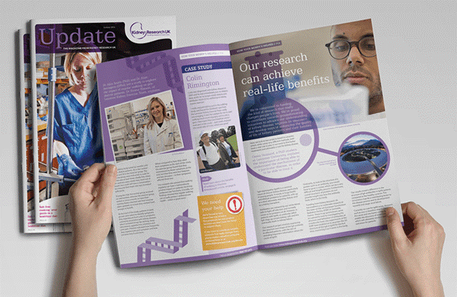purple kidney research UK charity newsletter booklet