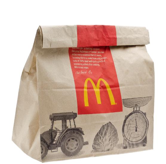 Macdonalds food brown bag packaging