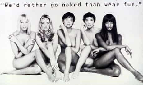 Supermodels pose naked to protest fur in fashion
