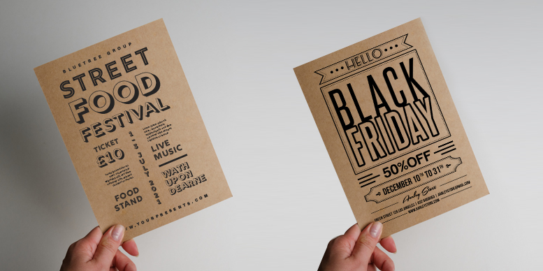 Black design on a Kraft flyer