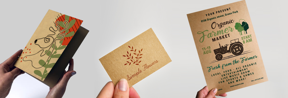 Kraft greetings card, business card and flyer