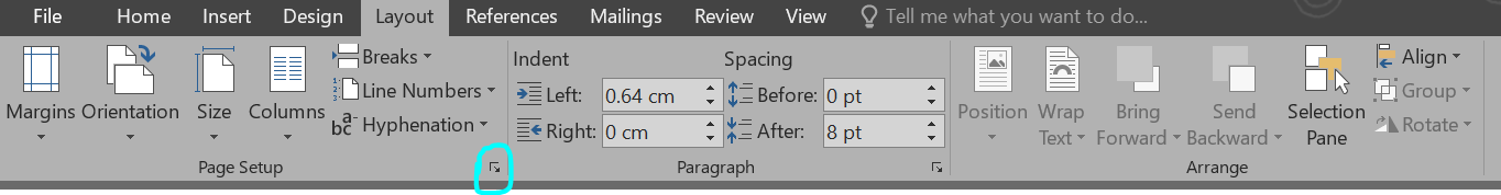 How to get to page layout in Word