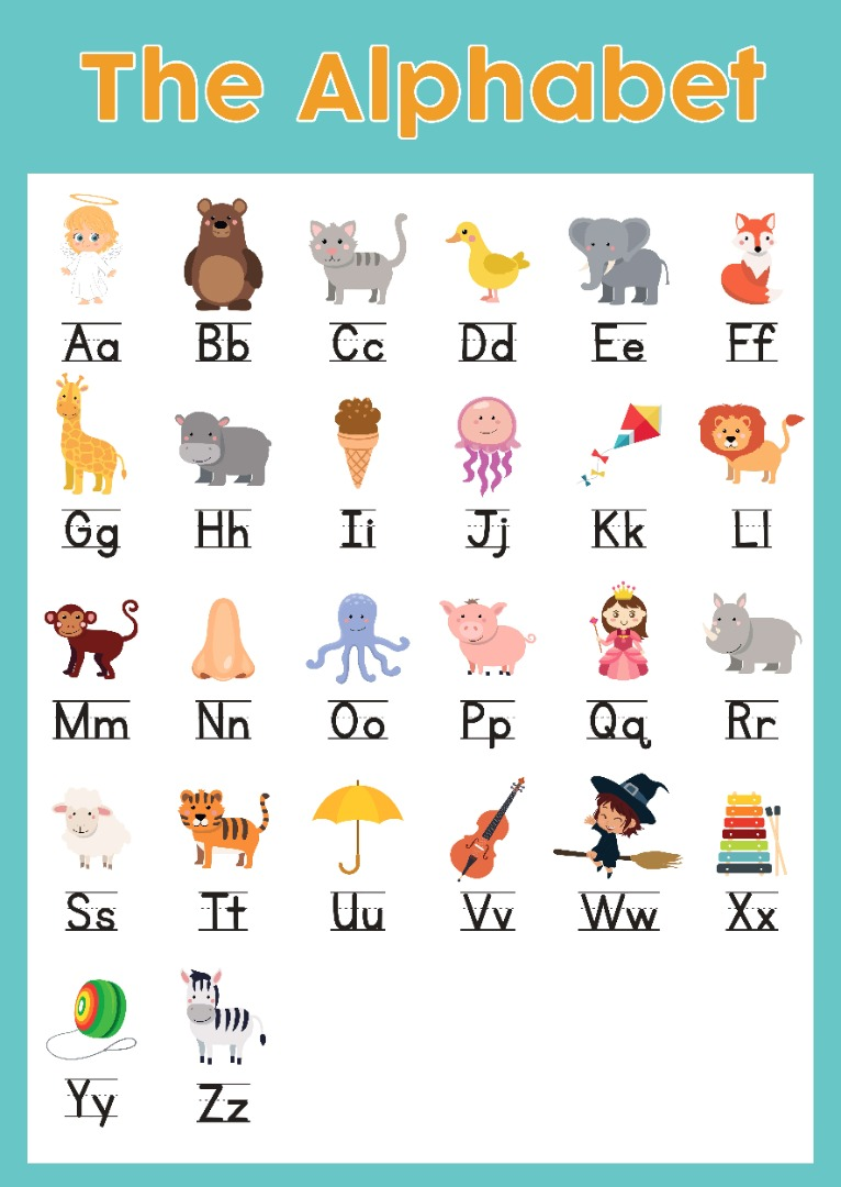 Cartoon animal alphabet for learning the sounds