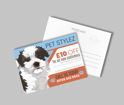 Blue printed postcards for god groomers