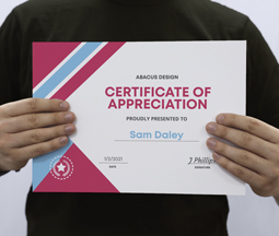 Printed Certificates with handwriting on