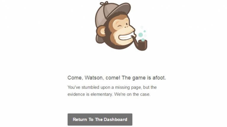 mailchimp funny error page copy with sherlock holmes pun