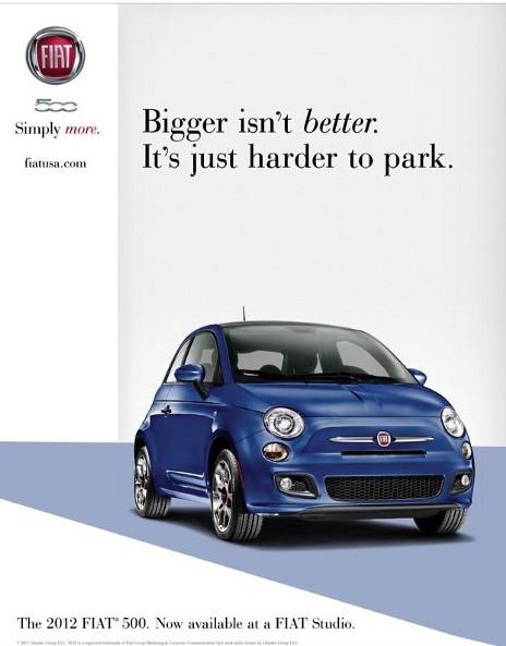 fiat 500 bigger isn't better poster advert