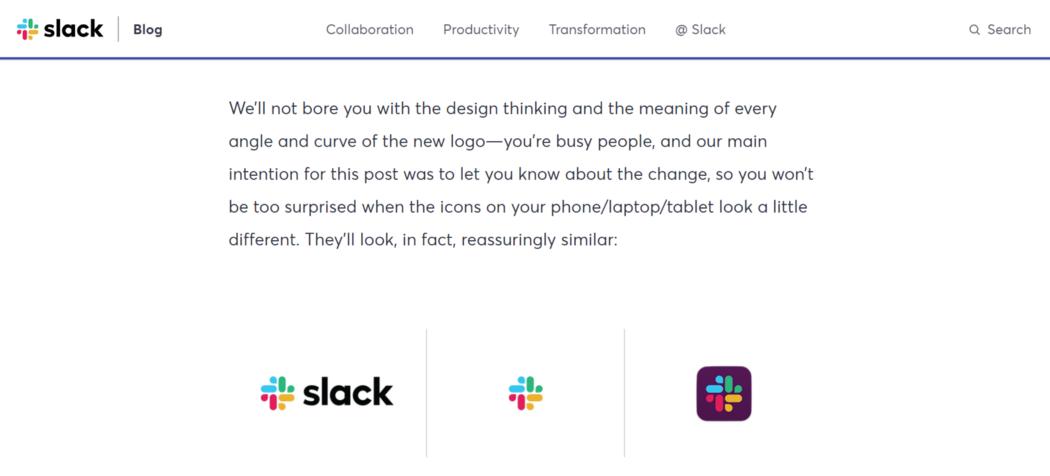 slack blog post about latest logo update