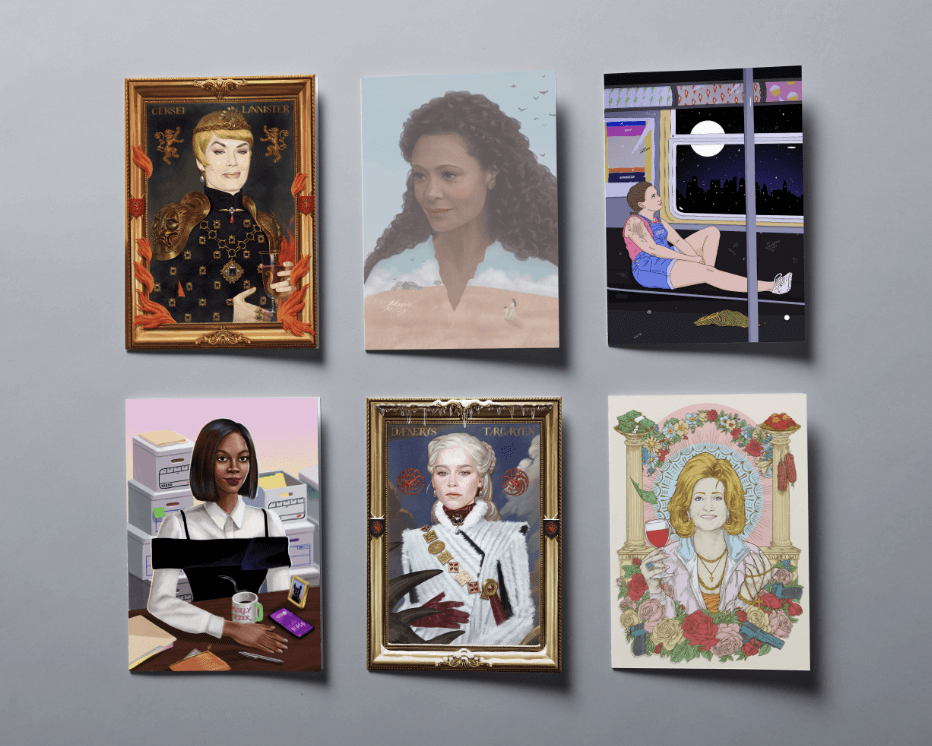 HBO characters as illustrated postcards