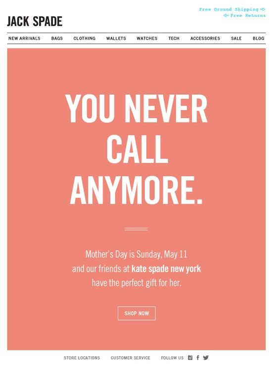 Jack Spade salmon coloured mother's day email advertising bags