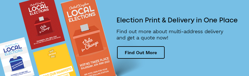 blue button for election printing and delivery with posters and banners on it