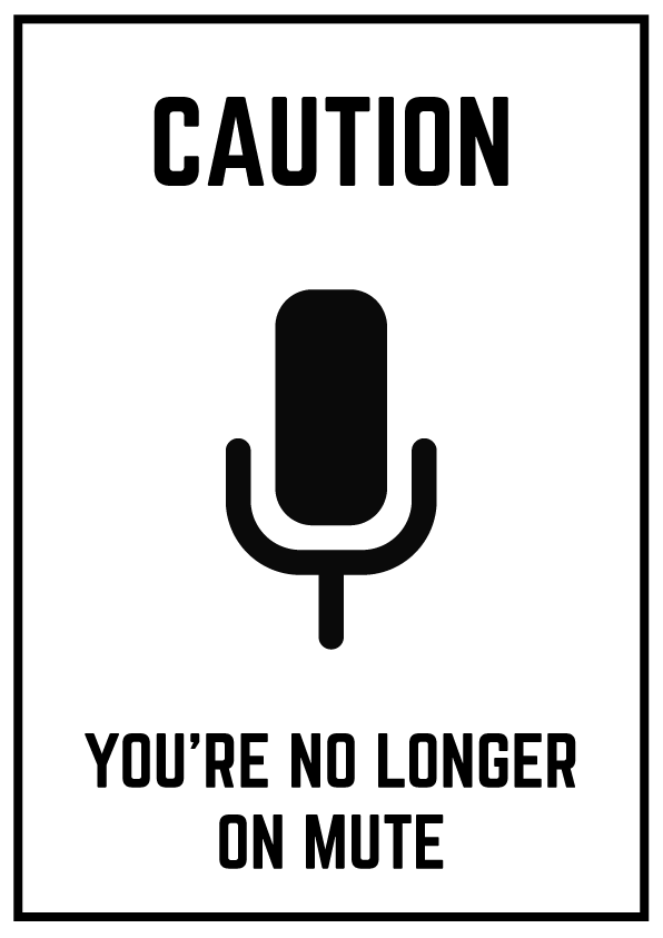black and white sign with a mute button on it
