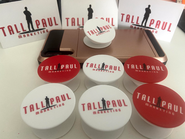 Tall Paul branded pop sockets as part of direct mail campaign
