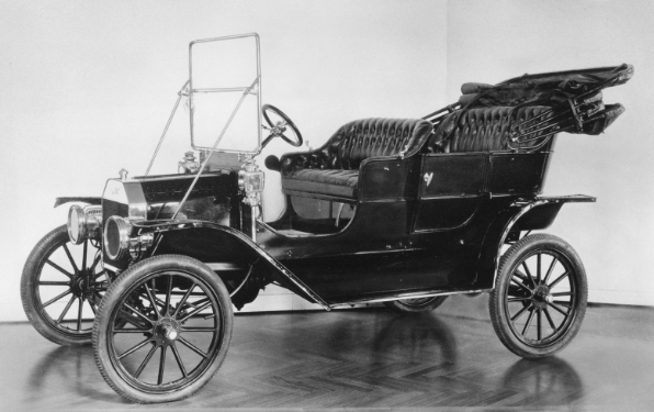 Black and white photograph of the Ford Model T