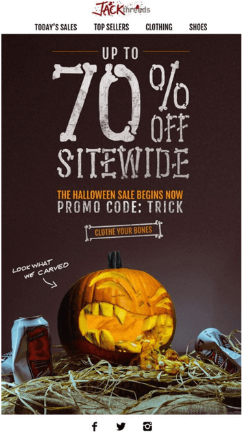 Halloween marketing sale email with a funny pumpkin theme