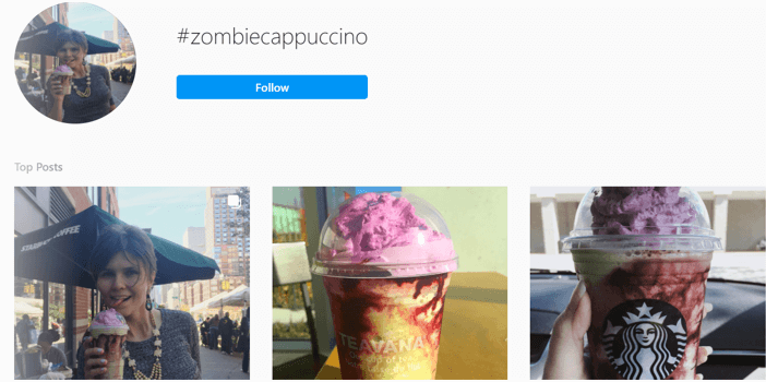search results on Instagram for Starbucks zombie cappuccino campaign